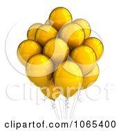 Clipart 3d Yellow Helium Party Balloons Royalty Free CGI Illustration