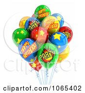 Clipart 3d Happy Birthday Helium Party Balloons 2 Royalty Free CGI Illustration