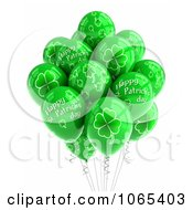 Clipart 3d St Patricks Day Helium Party Balloons Royalty Free CGI Illustration