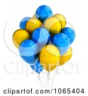 Clipart 3d Yellow And Blue Helium Party Balloons Royalty Free CGI Illustration