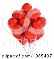 Clipart 3d Red Helium Party Balloons Royalty Free CGI Illustration
