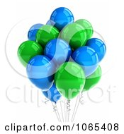 Clipart 3d Green And Blue Helium Party Balloons Royalty Free CGI Illustration