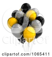 Clipart 3d Yellow, Black And Silver Helium Party Balloons - Royalty Free CGI Illustration by stockillustrations