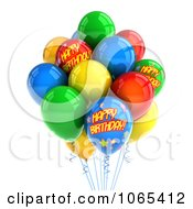 Clipart 3d Happy Birthday Helium Party Balloons 1 Royalty Free CGI Illustration