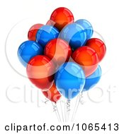 Clipart 3d Red And Blue Helium Party Balloons Royalty Free CGI Illustration