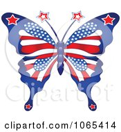 Clipart American Patriotic Butterfly Royalty Free Vector Illustration by Pushkin