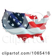 Clipart Waving American Flag Map Royalty Free Vector Illustration