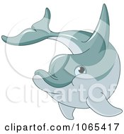 Clipart Happy Dolphin Swimming Royalty Free Vector Illustration by Pushkin
