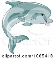 Clipart Dolphin Swimming Royalty Free Vector Illustration by Pushkin