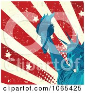 Clipart American Grunge Flag And Statue Of Liberty Royalty Free Vector Illustration