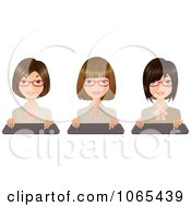 Clipart Secretaries With Keyboards 1 Royalty Free Vector Illustration