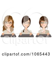 Clipart Secretaries With Keyboards 2 Royalty Free Vector Illustration