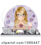 Clipart Secretary Seated At Her Desk Royalty Free Vector Illustration by Melisende Vector #COLLC1065447-0068