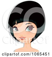 Clipart Woman With Black Hair In A Bob Cut 5 Royalty Free Vector Illustration by Melisende Vector
