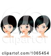 Clipart Women With Black Hair In Bob Cuts Royalty Free Vector Illustration by Melisende Vector