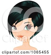 Clipart Woman With Black Hair In A Bob Cut 3 Royalty Free Vector Illustration by Melisende Vector