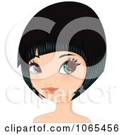 Clipart Woman With Black Hair In A Bob Cut 1 Royalty Free Vector Illustration by Melisende Vector