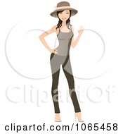 Clipart Woman Wearing Leggings Hat And Tank Top 3 Royalty Free Vector Illustration