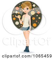 Clipart Teenage Woman Presenting 2 Royalty Free Vector Illustration