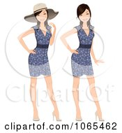 Clipart Woman Modeling A Floral Dress And Hat Royalty Free Vector Illustration