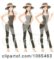 Clipart Woman Modeling Leggings Hat And Tank Top Royalty Free Vector Illustration
