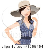 Clipart Woman In A Summer Dress And Hat Royalty Free Vector Illustration