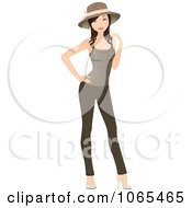 Clipart Woman Wearing Leggings Hat And Tank Top 1 Royalty Free Vector Illustration