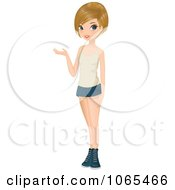 Clipart Teenage Woman Presenting 4 Royalty Free Vector Illustration