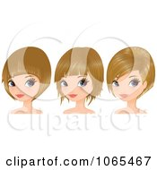 Clipart Women With Dirty Blond Hair In Bob Cuts Royalty Free Vector Illustration by Melisende Vector