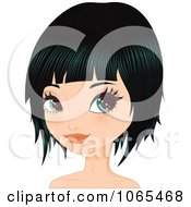 Clipart Woman With Black Hair In A Bob Cut 2 Royalty Free Vector Illustration