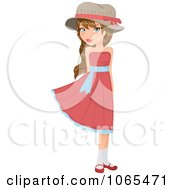 Clipart Flirty Girl In A Pink Dress Royalty Free Vector Illustration