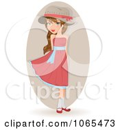Clipart Girl In A Pink Dress Royalty Free Vector Illustration