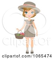 Clipart Girl Holding A Flower Basket Royalty Free Vector Illustration