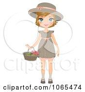 Girl Holding A Flower Basket