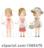 Clipart Girl In Three Outfits Royalty Free Vector Illustration