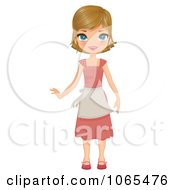 Clipart Girl Wearing A Dress And Apron Royalty Free Vector Illustration