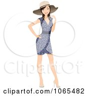 Clipart Woman In A Floral Dress And Hat Royalty Free Vector Illustration