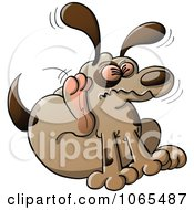Clipart Dog Scratching Fleas Royalty Free Vector Illustration
