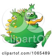 Clipart Fat Green Monster Walking Royalty Free Vector Illustration