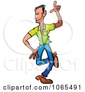 Clipart Man Dancing With One Finger Up Royalty Free Vector Illustration