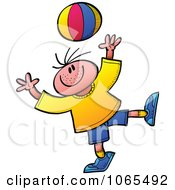 Clipart Boy Playing With A Ball Royalty Free Vector Illustration