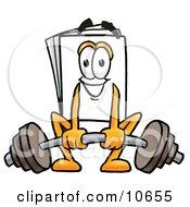 Clipart Picture Of A Paper Mascot Cartoon Character Lifting A Heavy Barbell