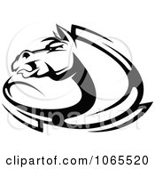 Clipart Horse Head Logo In Black And White 10 Royalty Free Vector Illustration