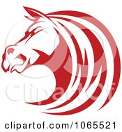 Clipart Strong Red Horse Head 3 Royalty Free Vector Illustration