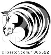 Clipart Horse Head Logo In Black And White 9 Royalty Free Vector Illustration