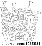 Clipart Outline Of A Castle Royalty Free Vector Illustration by yayayoyo