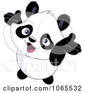 Clipart Cheery Panda Holding His Arms Up Royalty Free Vector Illustration