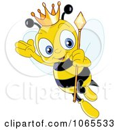 Clipart Queen Bee Wearing A Crown Royalty Free Vector Illustration