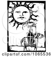 Clipart Knight On A Horse Under The Sun Royalty Free Vector Illustration