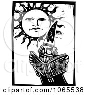 Clipart Warlock Reading A Magic Book Under The Sun Royalty Free Vector Illustration by xunantunich